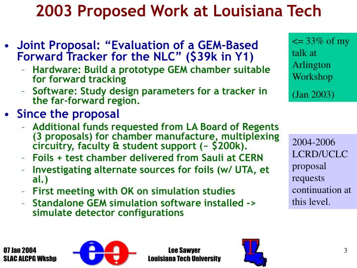 2003 proposed work at louisiana tech