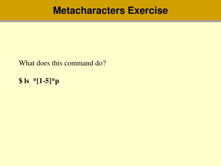 Metacharacters Exercise