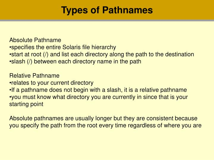 Types of Pathnames