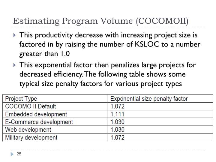 Estimating Program Volume (COCOMOII)