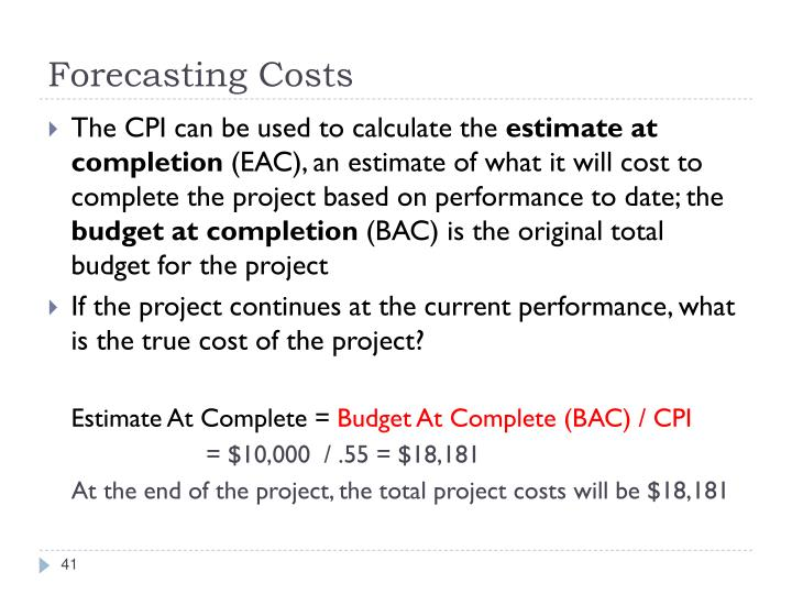 Forecasting Costs