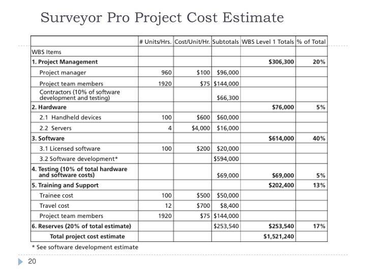 Surveyor Pro Project Cost Estimate