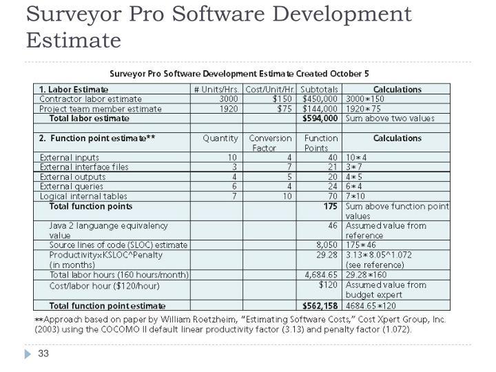 Surveyor Pro Software Development Estimate