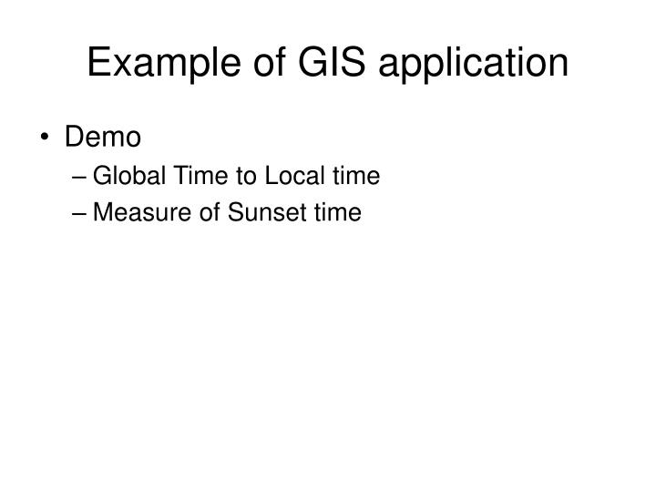 Example of GIS application