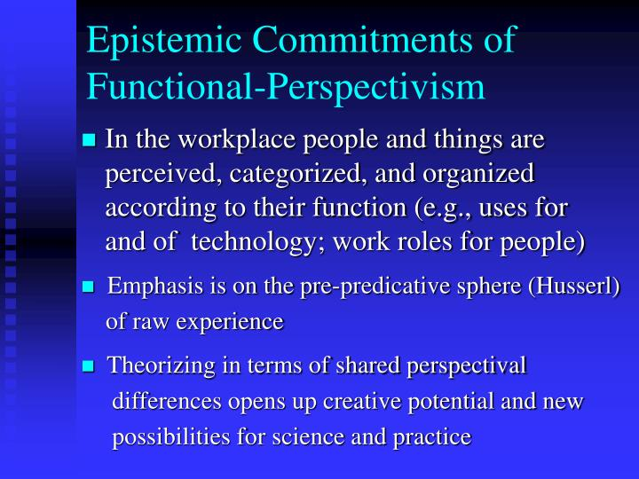 Epistemic commitments of functional perspectivism