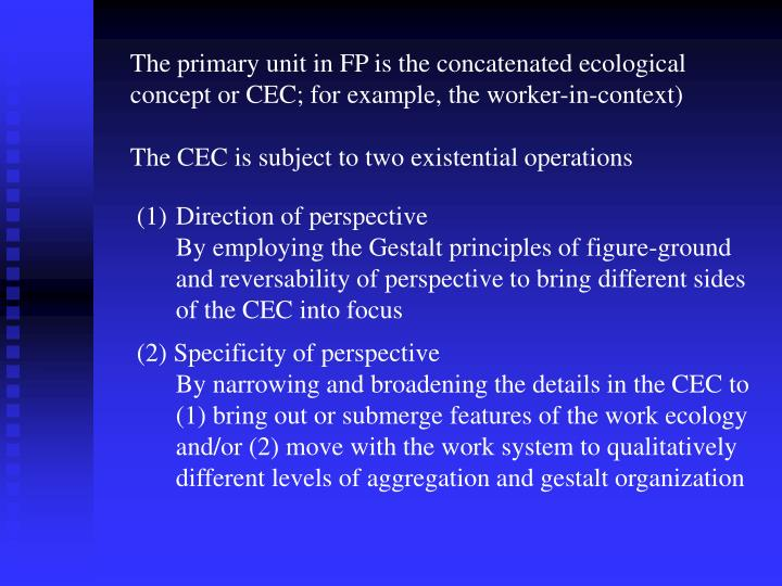 The primary unit in FP is the concatenated ecological concept or CEC; for example, the worker-in-context)