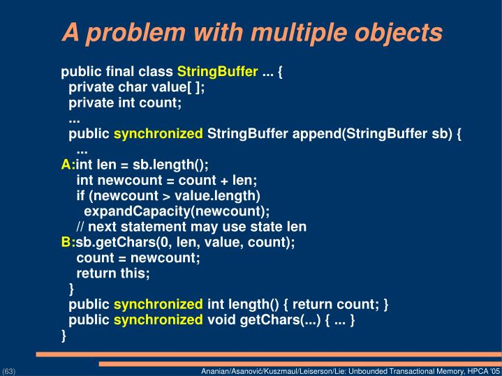 A problem with multiple objects
