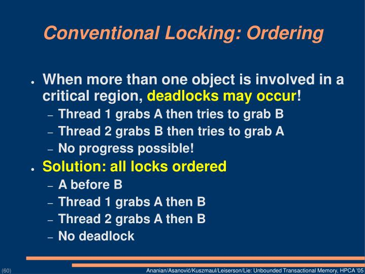 Conventional Locking: Ordering