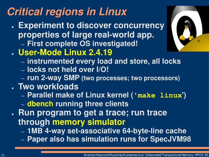 Critical regions in linux