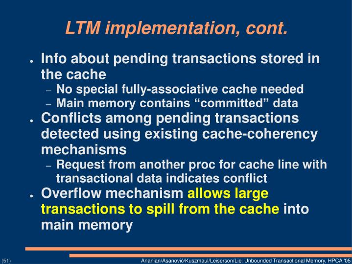 LTM implementation, cont.