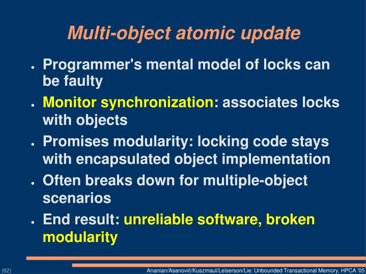 Multi-object atomic update