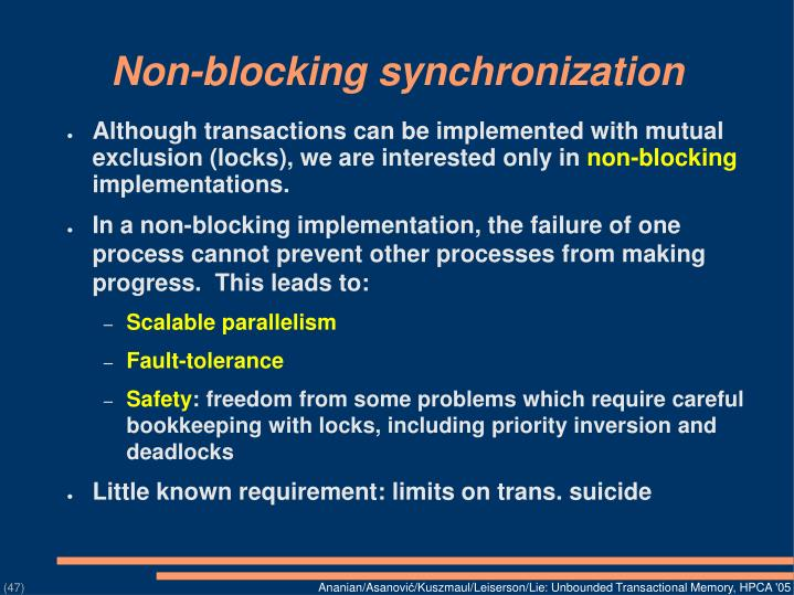 Non-blocking synchronization