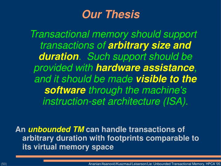 Transactional memory should support transactions of