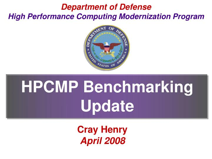 Hpcmp benchmarking update