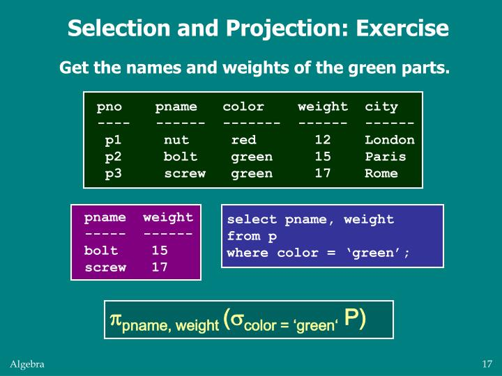Selection and Projection: Exercise