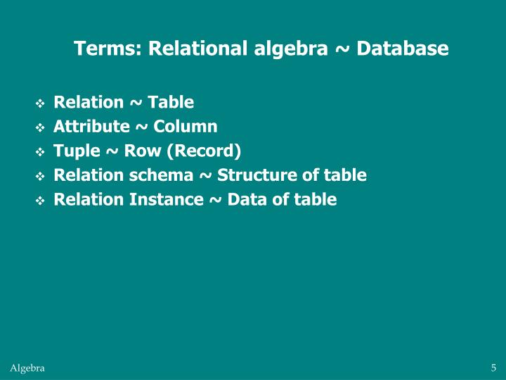 Terms: Relational algebra ~ Database