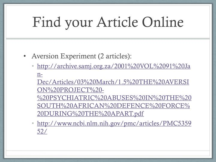 Find your Article Online