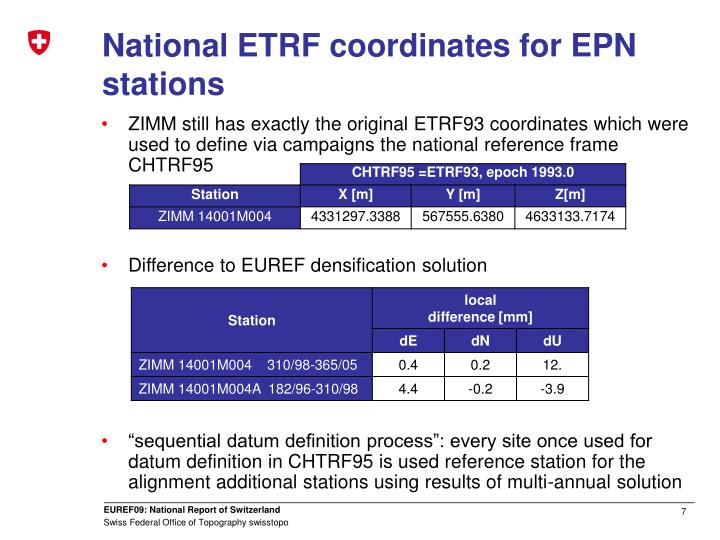 National ETRF coordinates for EPN stations