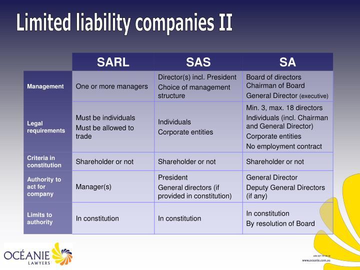 Limited liability companies II