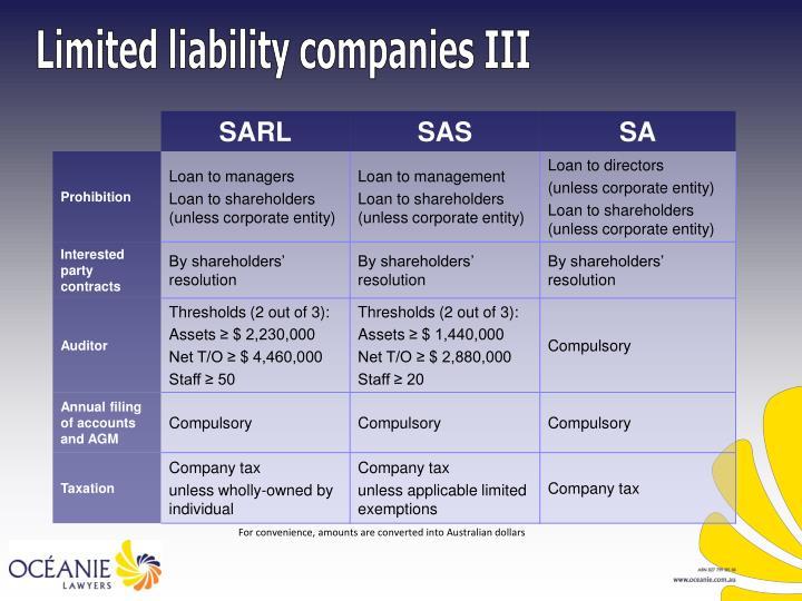 Limited liability companies III