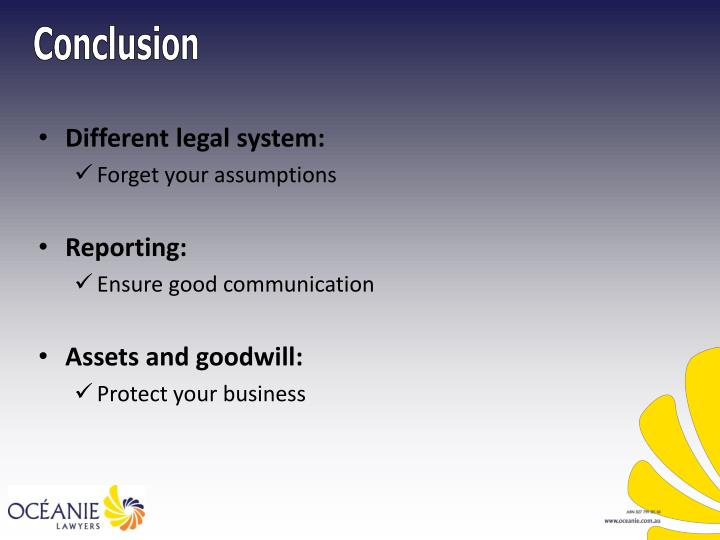 Different legal system: