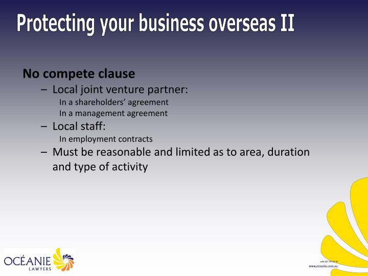 Protecting your business overseas II