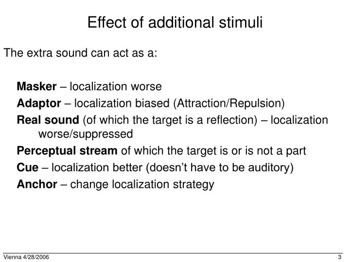 Effect of additional stimuli