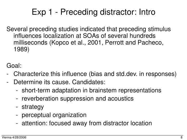 Exp 1 - Preceding distractor: Intro