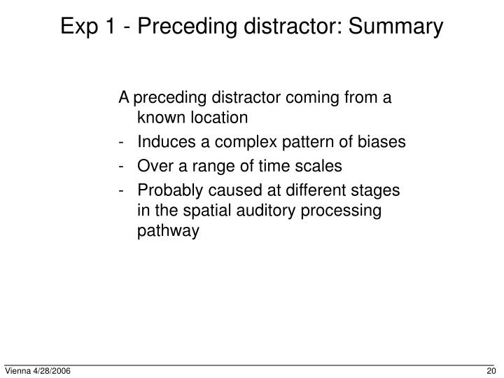 Exp 1 - Preceding distractor: Summary