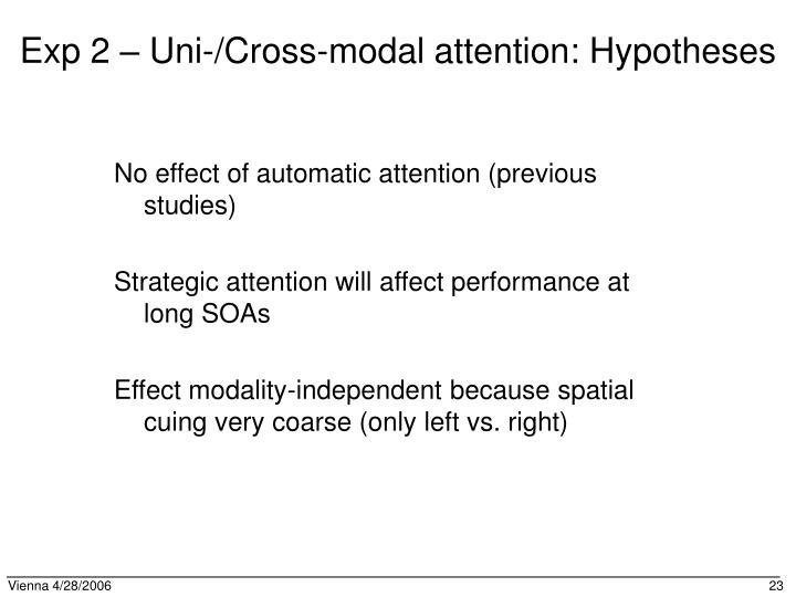 Exp 2 – Uni-/Cross-modal attention: Hypotheses