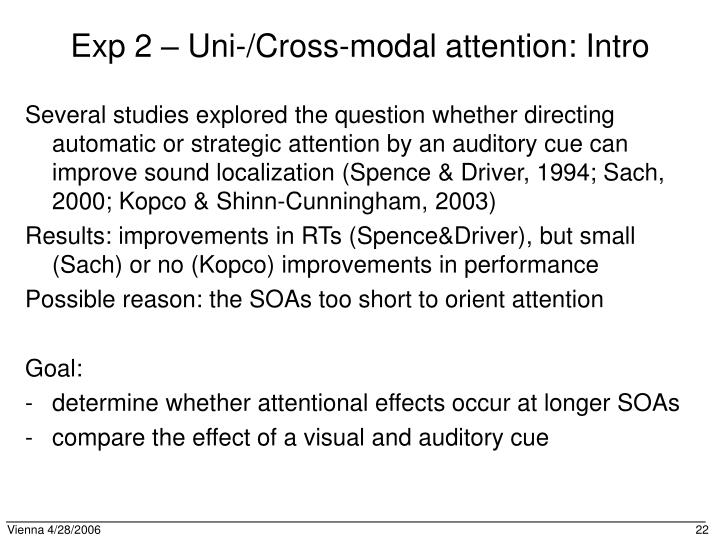 Exp 2 – Uni-/Cross-modal attention: Intro