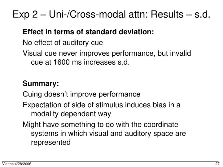 Exp 2 – Uni-/Cross-modal attn: Results – s.d.