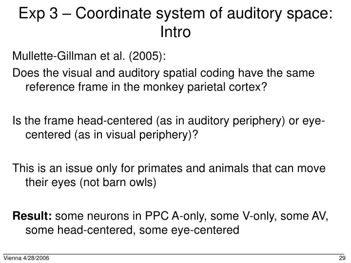 Exp 3 – Coordinate system of auditory space: Intro