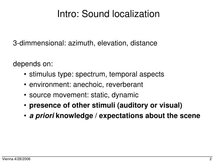 Intro: Sound localization