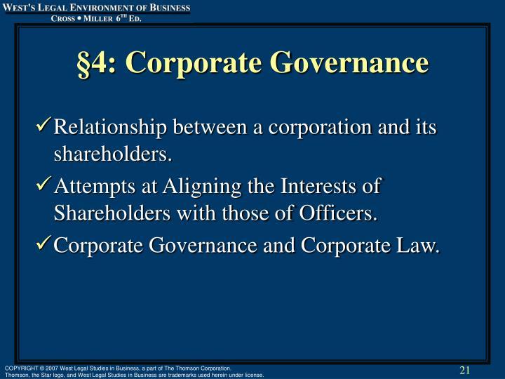 §4: Corporate Governance