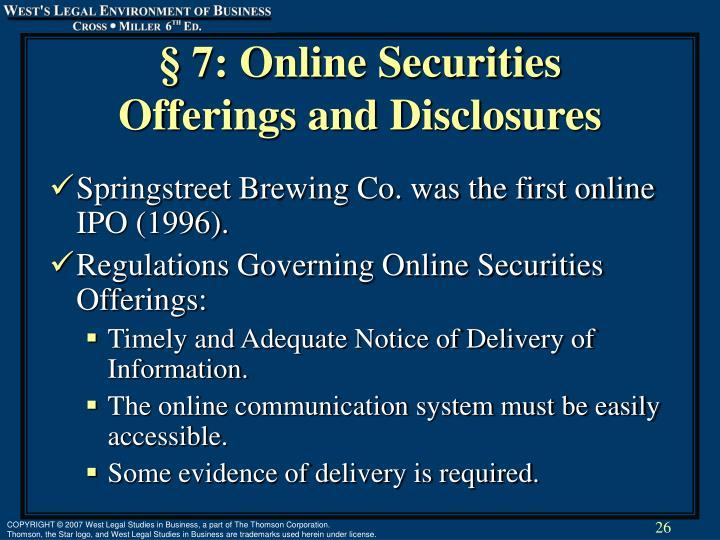 § 7: Online Securities