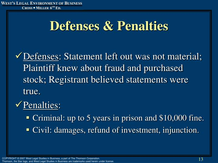 Defenses & Penalties