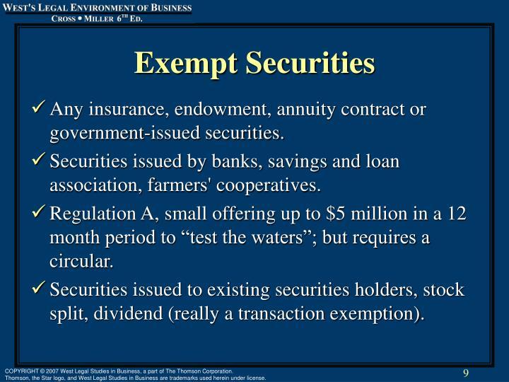 Exempt Securities