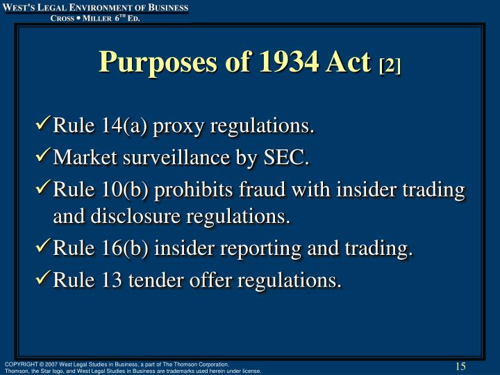 Purposes of 1934 Act