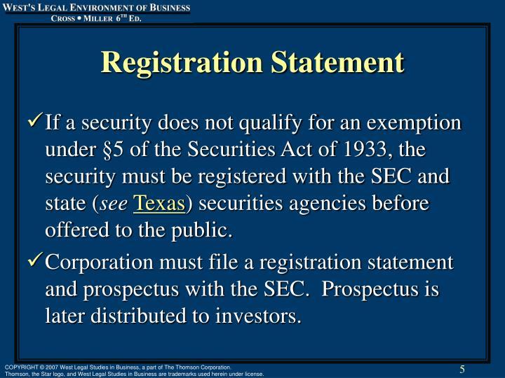 Registration Statement
