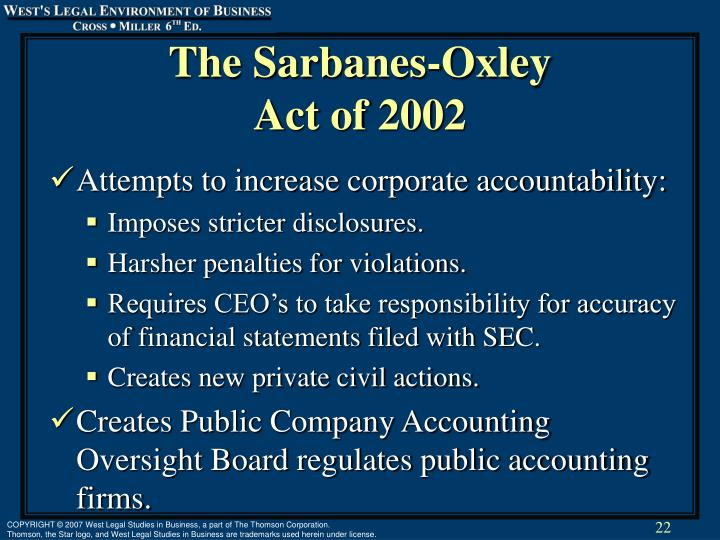 The Sarbanes-Oxley