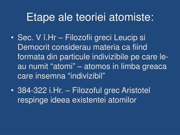 Etape ale teoriei atomiste: