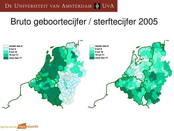 Bruto geboortecijfer / sterftecijfer 2005