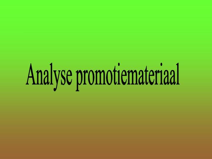 Analyse promotiemateriaal