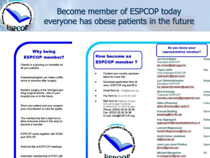 Become member of ESPCOP today