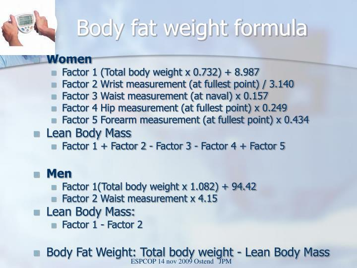 Body fat weight formula