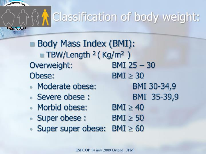 Classification of body weight: