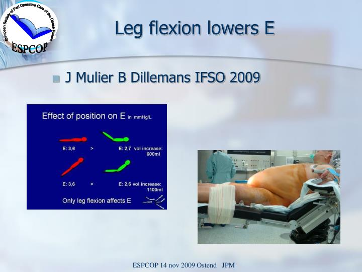 Leg flexion lowers E