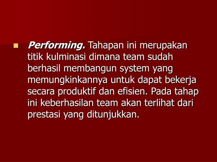 Performing.