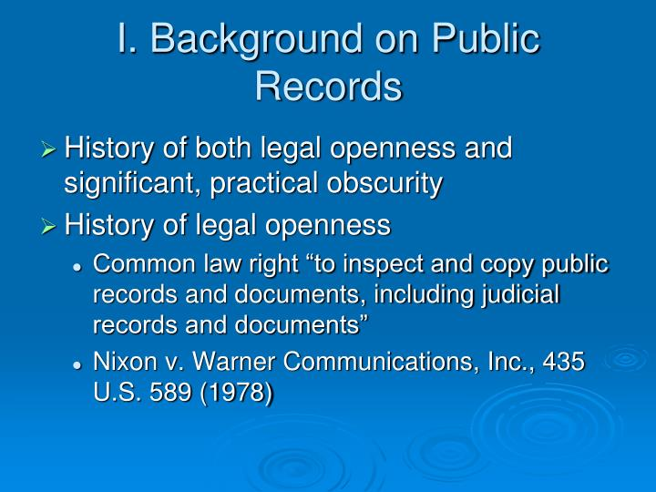 I. Background on Public Records